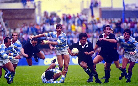The All Blacks playing the Pumas during their 1985 tour of Argentina Argentina vs all blacks reid running.jpg