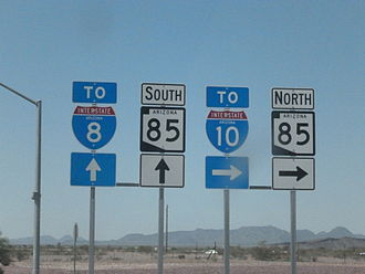 Arizona State Route 85 - Markers for SR 85 and two Interstates