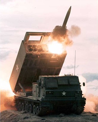 M270 Multiple Launch Rocket System - The M270 MLRS conducts a rocket launch.