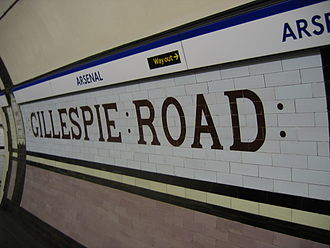 "Arsenal tube station - Tiling on the platform indicates the station's previous guise as ""Gillespie Road""."