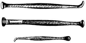 Cross-hatched drawings of three long, thin metal implements.