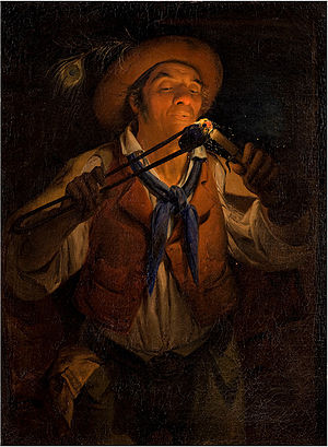 Angelo Inganni - Farmer Lighting a Candle with a Burning Stick, 1850  (Fondazione Cariplo)