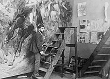 Arturo Michelena in his studio WB cut version.jpg