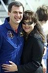 Astronaut Peter Wisoff greets wife.jpg