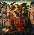Attributed to the Master of Frankfurt - Holy Family with Music Making Angels - Google Art Project.jpg
