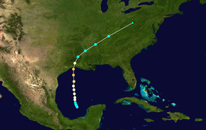 1957 Atlantic hurricane season - Image: Audrey 1957 track