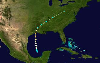 Hurricane Audrey - Image: Audrey 1957 track