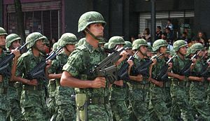 Mexican soldiers on parade in Mexico's indepen...