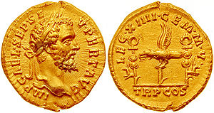 Aureus - Aureus minted in 193 by Septimius Severus to celebrate XIV ''Gemina Martia Victrix'', the legion that proclaimed him emperor.