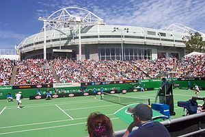 Australian Open - Margaret Court Arena at the Australian Open with the old Rebound Ace surface. Rod Laver Arena, the centre court, in the background
