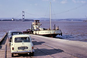 The England end of Aust Ferry in 1964, looking...
