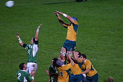 A line-out during Ireland against Australia in 2006.
