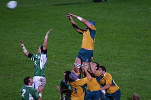 Australia national rugby union team - A line-out during Ireland against Australia in 2006.