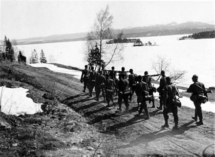 German Gebirgsjager advancing northwards near Snasa Austrian Gebirgsjager heading for Snasa.jpg