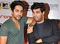Ayuyshmann Khurana and Kunaal Roy Kapur at 'MTV Video Music Awards India 2013'.jpg