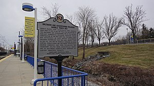 B&S historical marker, Timonium station, February 2013.jpg