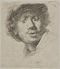 Self portrait in a cap, with eyes wide open