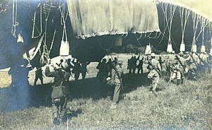 Military aviation - Austro-Hungarian soldiers transport a military balloon during World War I in 1914