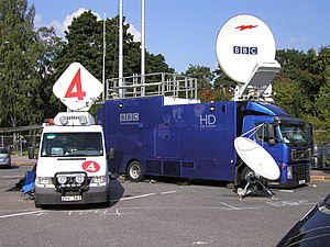 Electronic news-gathering - The TV4 and BBC HD satellite uplink DSNG at the IAAF World Athletics Championships in Helsinki, Finland