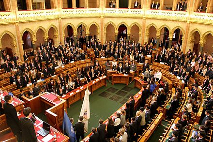 United Nations conference in the assembly hall of House of Magnates in the Hungarian Parliament BIMUN 2012 opening 1.jpg