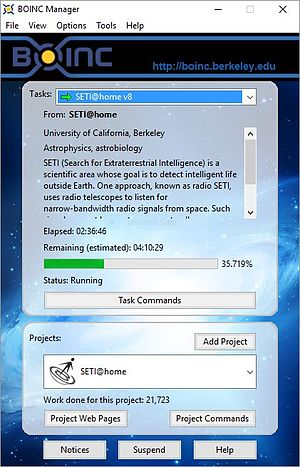 Berkeley Open Infrastructure for Network Computing - The BOINC Manager working on the SETI@home project (v 7.6.22)