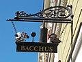Bacchus signboard. - 2 Dobó Square, Eger, 2016 Hungary.jpg