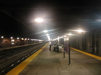Back Bay station - Island platform at Back Bay; fumes in the air cause the halos around the ceiling lights