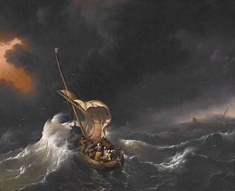 Calming the storm - Image: Backhuysen, Ludolf Christ in the Storm on the Sea of Galilee 1695