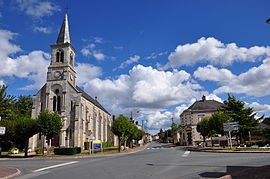 The church and the main road in Badecon-le-Pin