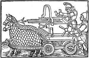 De rebus bellicis - A four-wheeled ballista drawn by armored horses, from an engraving illustrating the 1552 editio princeps of De Rebus Bellicis.