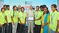 Banwarilal Purohit commending tremendous efforts of the volunteers from different different educational institutions of Chennai, at the closing ceremony of the DefExpo India - 2018, at Thiruvidanthai.jpg