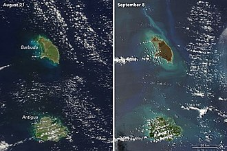 Barbuda - Satellite images of Antigua and Barbuda from August 21, 2017, and September 8, 2017, illustrating the damage caused by Hurricane Irma to Barbuda. The browning of the island was a result of extreme wind damage to foliage and desiccation of vegetation due to sea spray.