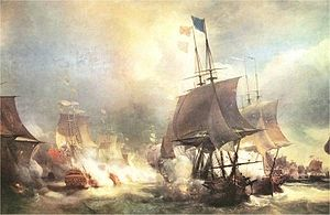 Thomas Pye - The Battle of Ushant, by Théodore Antoine Gudin. The battle led to a bitter dispute between Keppel and Palliser, with Pye presiding over Keppel's court martial