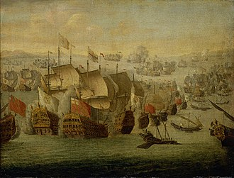 Edward Vernon - The Battle of Malaga (1704) by Isaac Sailmaker