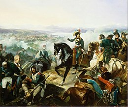 Painting of a battle featuring a man on horseback in the center. In the distance is a city on a lake.