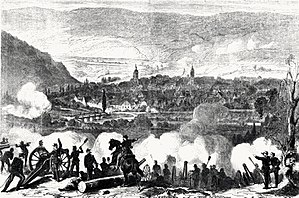 Battle of Tauberbischofsheim - Wurttemberg artillery in the battle near Tauberbischofsheim on 24 July 1866 on the east bank of the Tauber