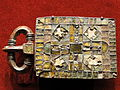 Belt Buckle, about 520-560 AD, Visigothic, Spain, bronze with garnets, glass, mother of pearl, gold foil - Cleveland Museum of Art - DSC08475.JPG