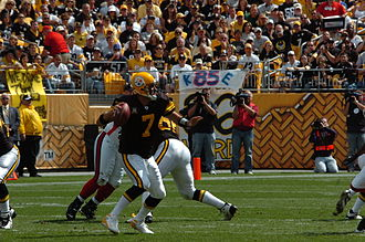 Pittsburgh Steelers - Roethlisberger in a Steelers' throwback jersey during the team's 500th win in franchise history.