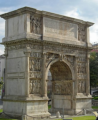 Arch of Trajan (Benevento) - Arch of Trajan, city side.