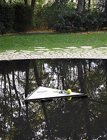 The centre of the pool at The Memorial to the Sinti and Roma victims of National Socialism