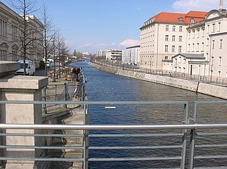 Berlin-Spandau Ship Canal - View of the canal from the Sandkrugbrücke on Invalidenstraße in Berlin