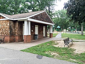 Bethpage State Park - Bethpage State Park restrooms and playground area