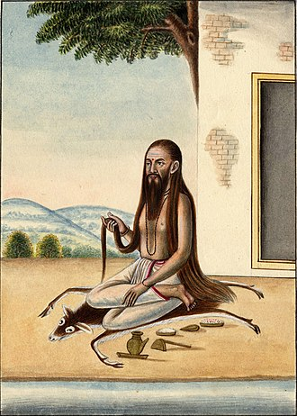 Lotus position - The sage Bharadvaja sitting for meditation on a deer skin in half lotus. 19th century