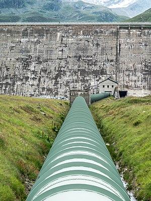 Water pipeline between Silvretta Reservoir and Lake Vermunt. Vorarlberg, Austria