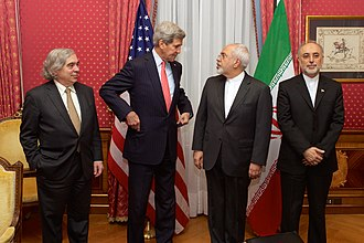 "Ali Akbar Salehi - Salehi as head of the Atomic Energy Organization of Iran along with FM Zarif, U.S. Secretary of State John Kerry and Secretary of Energy Ernest Moniz, in the ""Salon Élysée"" of the Beau-Rivage Palace (Lausanne, Switzerland), 16 March 2015"