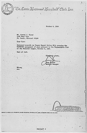 Curt Flood - Cardinals general manager Bing Devine's letter to Flood, informing him that he had been traded to the Phillies.