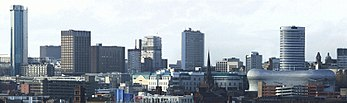 Birmingham's skyline with the Holloway Circus Tower, the Rotunda and the Selfridges Building visible.