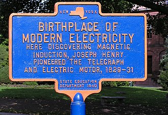 Joseph Henry - Historical marker in Academy Park (Albany, New York) commemorating Henry's work with electricity.