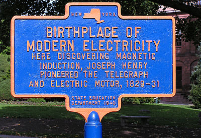 Historical marker in Academy Park (Albany, New York) commemorating Henry's work with electricity. Birthplace Of Modern Electricity.jpg