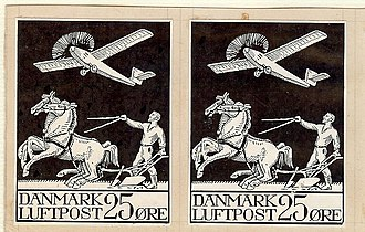 Airmail stamps of Denmark - Image: Black Layout Proof
